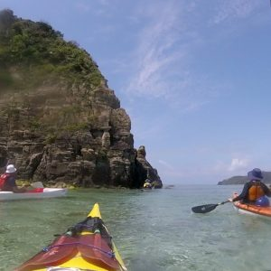 Kayaking the rugged coast line Okinawa