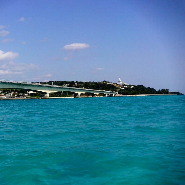 The view of Kouri Island from a kayak by Kouri Bridge