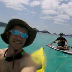 Kayak towing a paddle board, Okinawa
