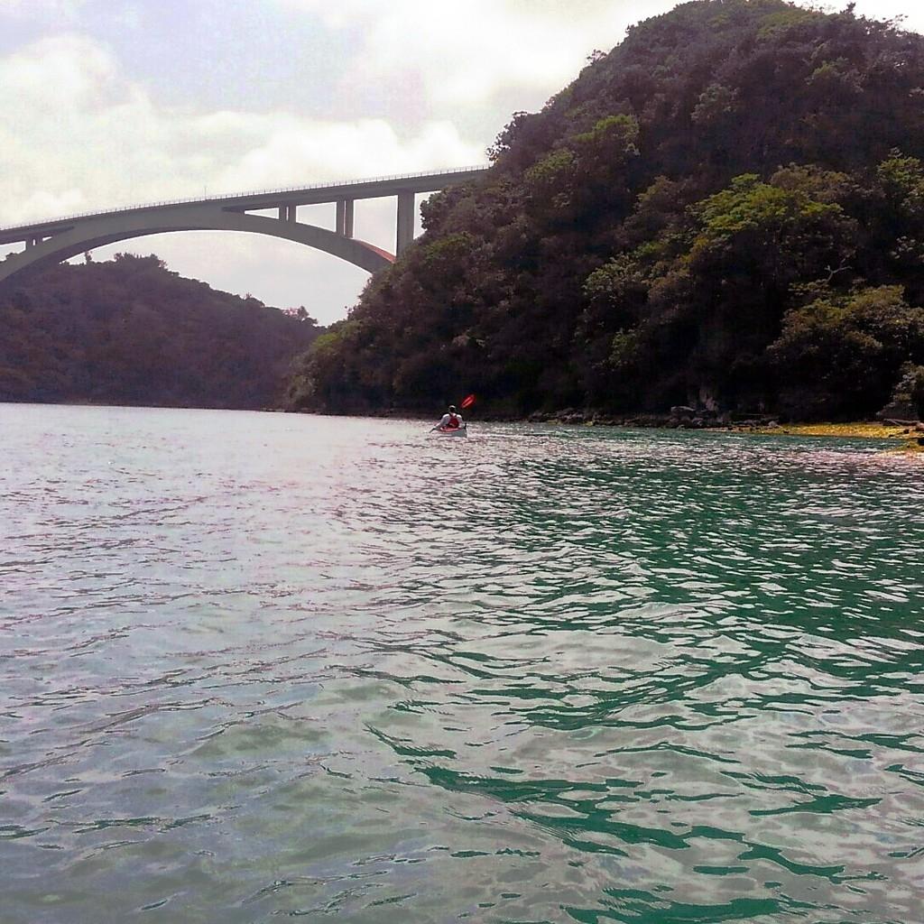 A kayaker paddling the Yagaji inland Sea